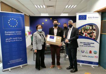 رئيس الجامعة الألمانية ترعى تسليم أجهزة لابتوب لطلبة مشروع التعليم السوري/ الأردني